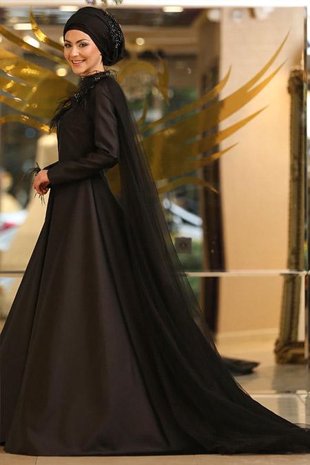 Minel Aşk Siyah Omuz Detaylı Abiye Elbise