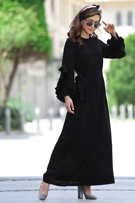 Minel Aşk Siyah Pilise Detaylı Abiye Elbise