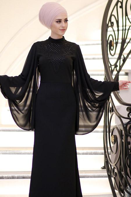Minel Aşk Siyah Pul Payet İşlemeli Elbise