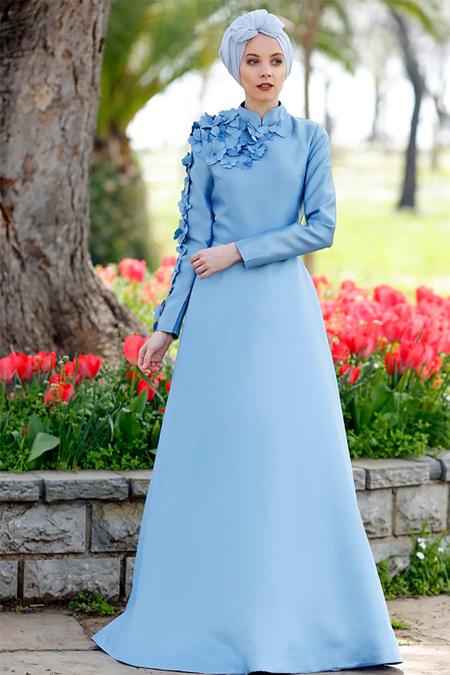 Minel Aşk Mavi Lilas Abiye Elbise