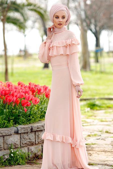 Minel Aşk Somon İnci Detaylı Abiye Elbise