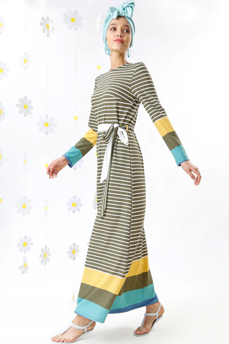 MisCats Haki Çizgili Elbise