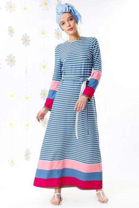 MisCats Mavi Çizgili Elbise