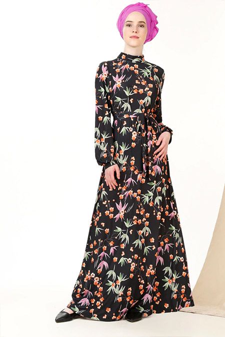 MisCats Siyah Çiçek Desenli Elbise
