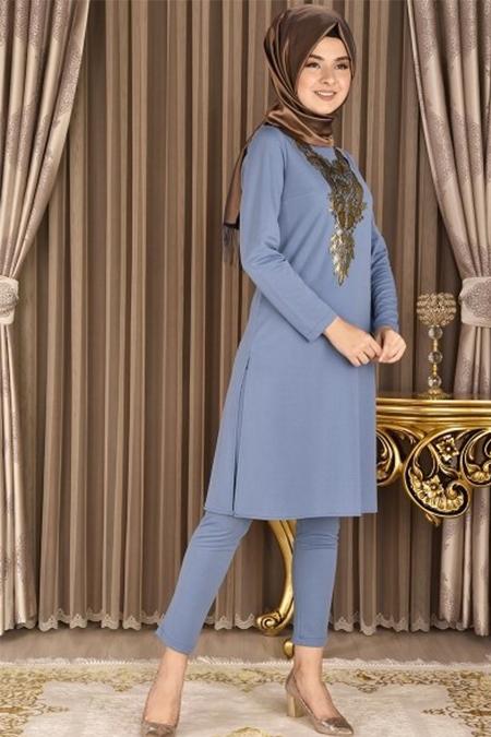 Modamerve Bebe Mavisi Gold Varak Güpürlü Tunik Pantolon İkili Takım