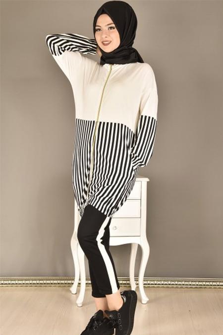 Modamerve Beyaz Fermuarlı Çizgili Tunik