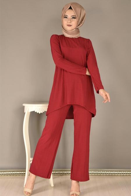 Modamerve Bordo Pilise Desen Tunik ve Pantolon İkili Takım