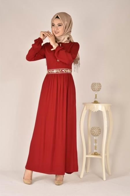 Modamerve Kırmızı Nakış İşlemeli Elbise