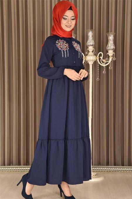 Modamerve Lacivert Motifli Elbise