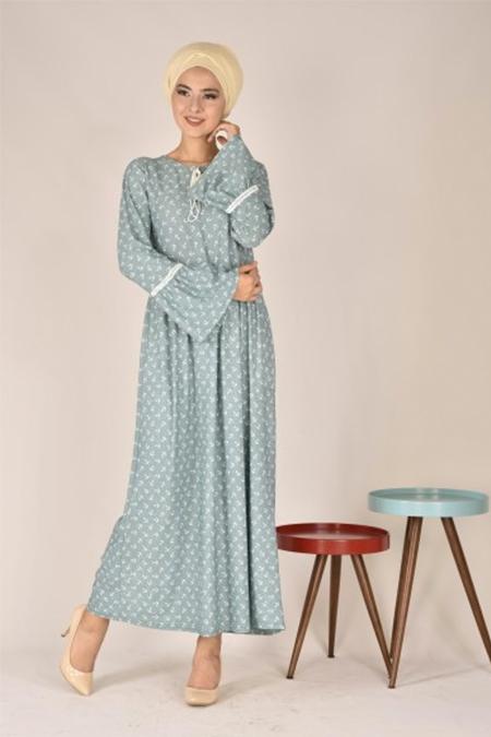 Modamerve Mint Motif Detaylı Valon Kol Elbise