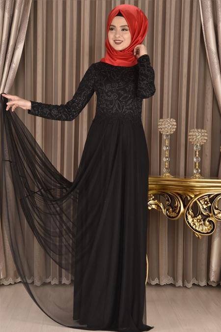 Modamerve Sim Baskı Desen Abiye Elbise