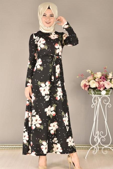 Modamerve Siyah Beyaz Çiçek Desenli Kemerli Elbise
