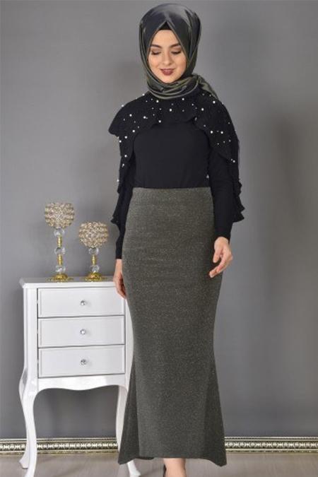Modamerve Siyah Fırfırlı İncili Bluz