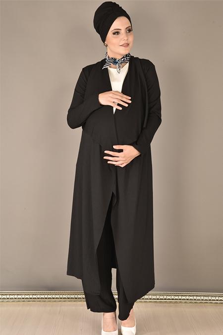 Modamerve Piliseli Yelek Tunik Pantolon Üçlü Takım
