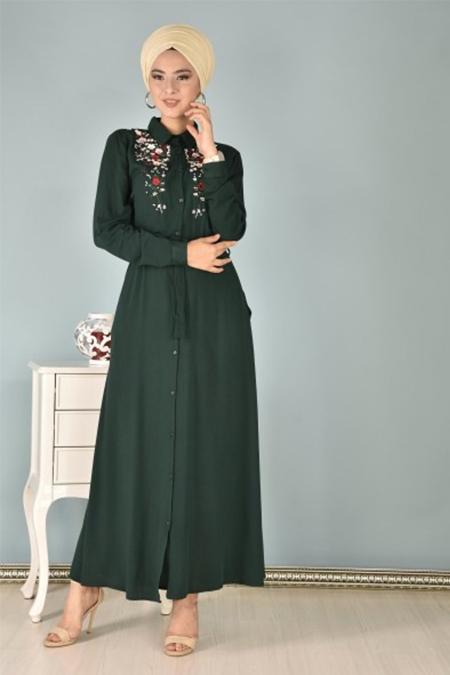 Modamerve Yeşil Ön Nakışlı Elbise