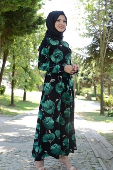 Modamerve Zümrüt Çiçek Desenli Elbise