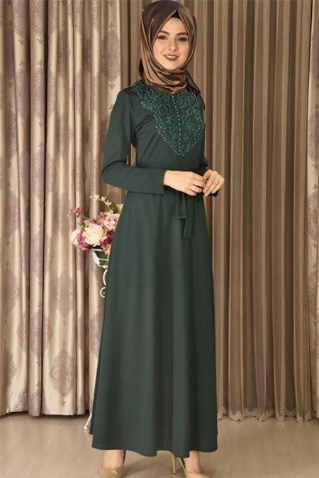 Modamerve Zümrüt Ön İncili Elbise