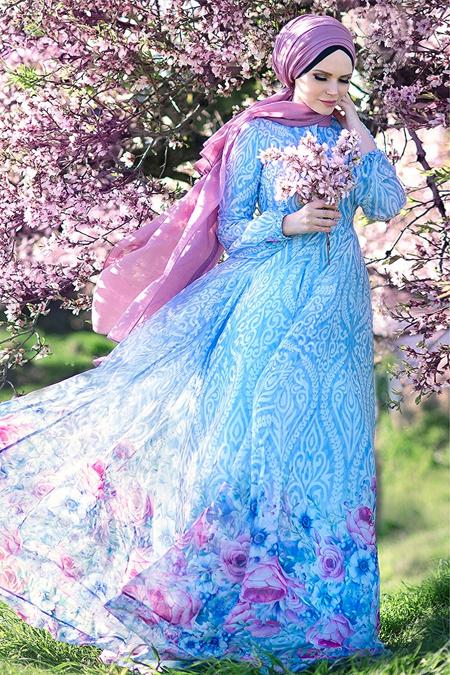 Muslima Wear Mavi Blue Blossom Abiye Elbise