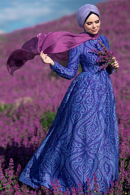 Muslima Wear Mor Violla Abiye Elbise