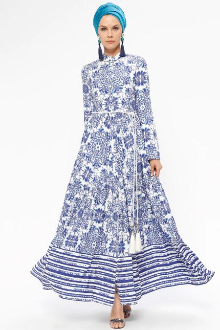 Mustafa Dikmen Lacivert Beyaz Çini Desenli Elbise