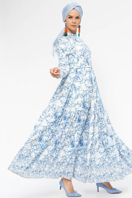 Mustafa Dikmen Mavi Beyaz Romantik Desenli Elbise