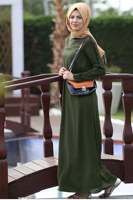 Nurkombin Haki Şeritli Elbise