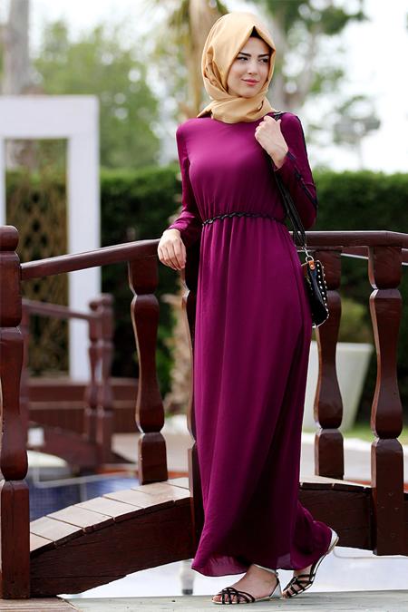 Nurkombin Mürdüm Şeritli Elbise