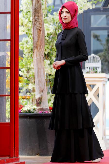 Nurkombin Siyah Katlı Elbise