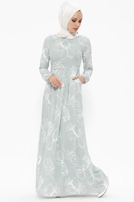 Puane Çağla Desenli Elbise