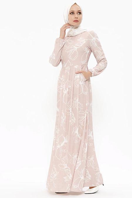 Puane Bej Desenli Elbise