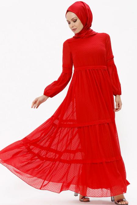 Puane Kırmızı Şifon Elbise
