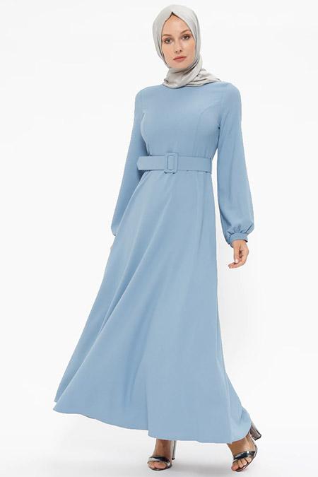 Puane Mavi Kemerli Elbise