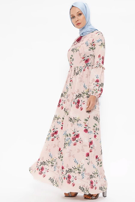 Puane Pudra Desenli Elbise