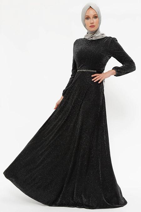 Puane Siyah Simli Kemerli Elbise