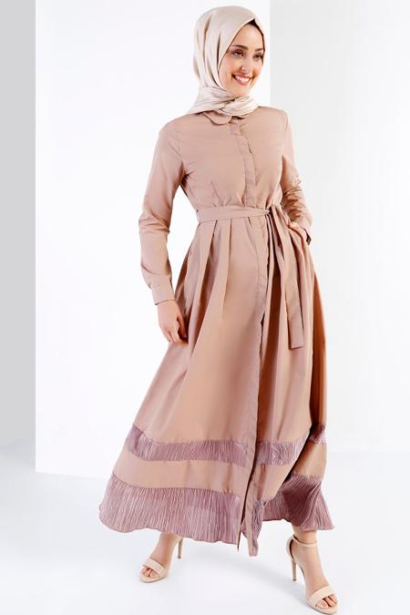 Refka Bej Doğal Kumaştan Boydan Düğmeli Elbise