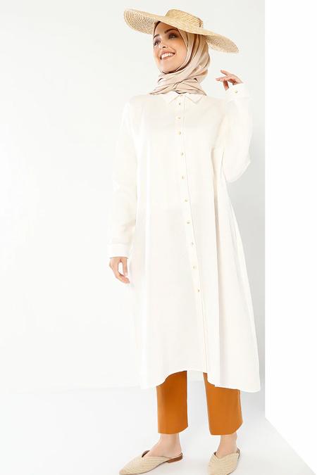 Refka Beyaz Doğal Kumaşlı Düğmeli Tunik