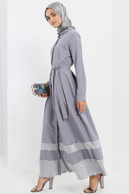 Refka Gri Doğal Kumaştan Boydan Düğmeli Elbise