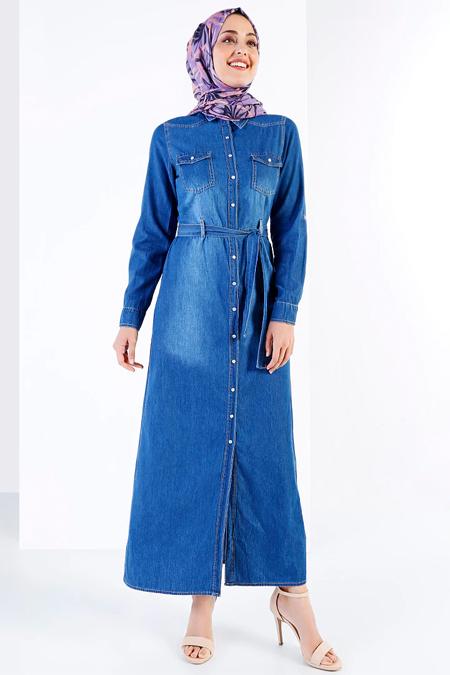 Refka Mavi Doğal Kumaşlı Kot Elbise