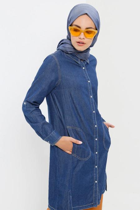 Refka Koyu Mavi Doğal Kumaşlı Çıtçıtlı Kot Tunik
