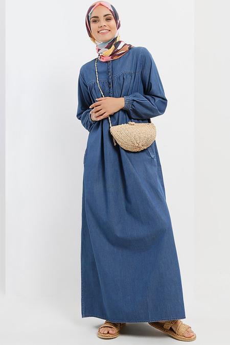Refka Koyu Mavi Doğal Kumaşlı Kot Elbise