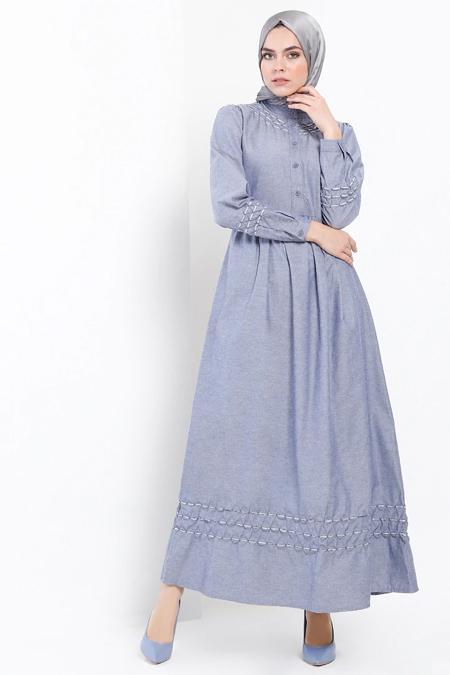 Refka Lacivert Düğme Detaylı Elbise