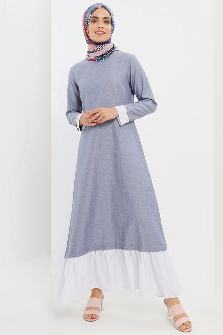 Refka Lacivert Garnili Elbise