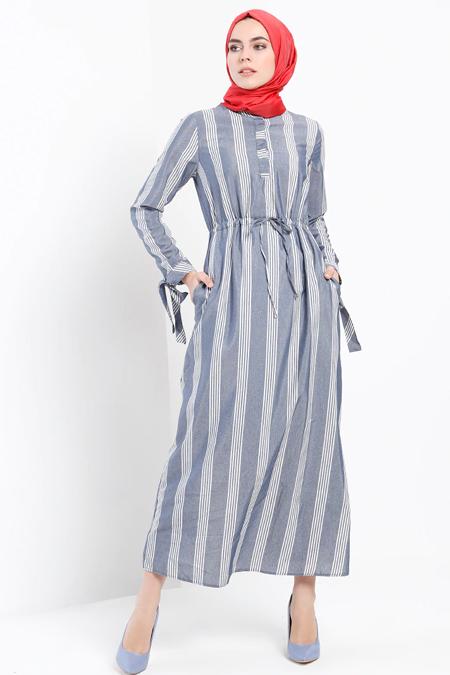 Refka Lacivert Çizgili Elbise