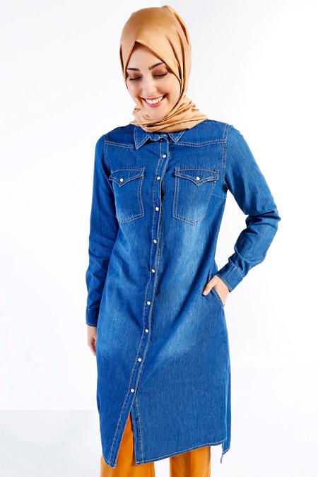 Refka Mavi Doğal Kumaşlı Kot Tunik