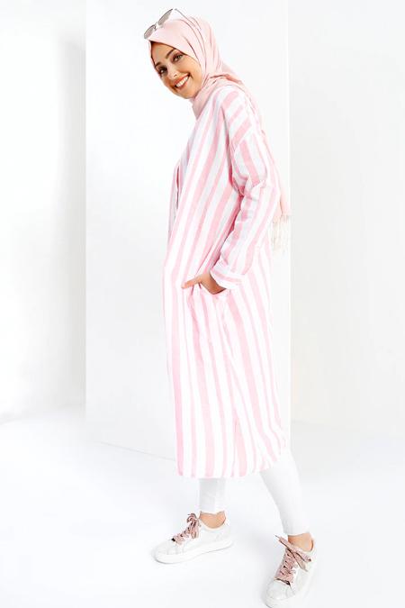 Refka Pembe Beyaz Doğal Kumaşlı Çizgili Tunik