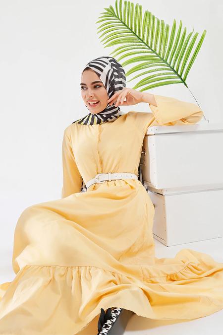Refka Sarı Pile Detaylı Elbise