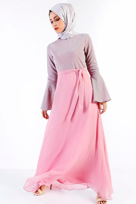 Refka Pudra Kendinden Simli Abiye Elbise
