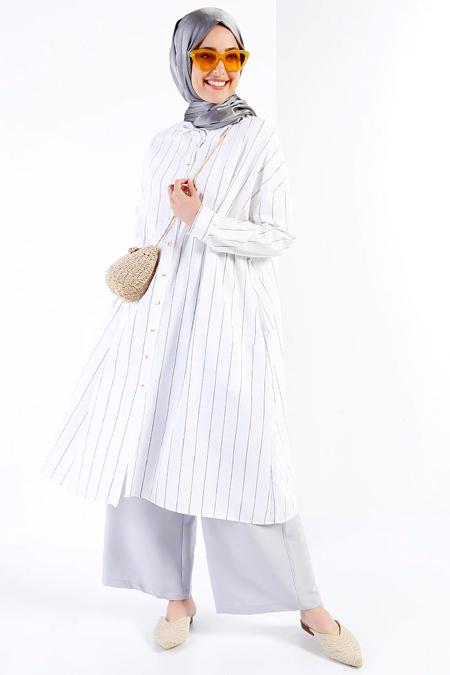 Refka Siyah Beyaz Doğal Kumaşlı Çizgili Tunik