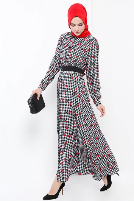 Refka Siyah Kırmızı Kareli Elbise