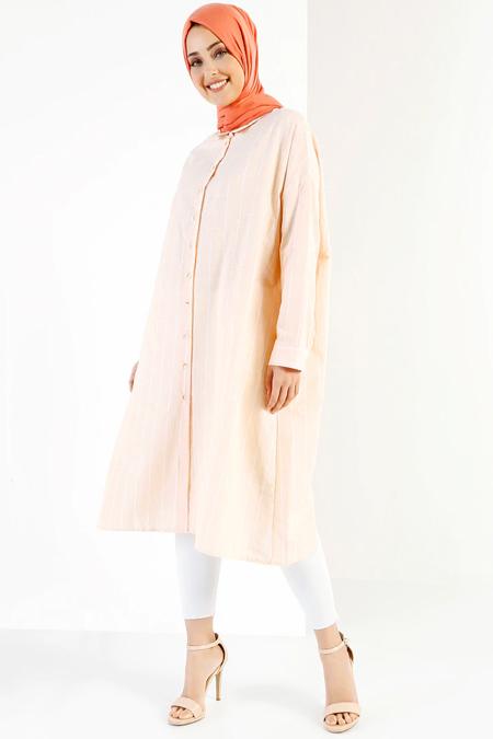 Refka Somon Beyaz Doğal Kumaşlı Çizgili Tunik